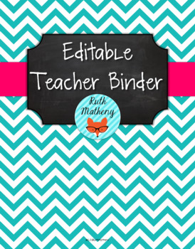 {Editable Teacher Binder} Turquoise Chevron Chalkboard wit