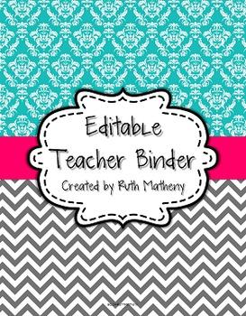 {Editable Teacher Binder} Turquoise Damask and Gray Chevron