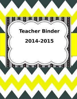 Editable Teacher Binder Yellow and Gray Chevron.