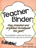 Editable Teacher Binder {Yellow and Pink}
