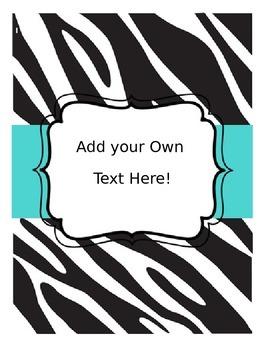 Editable Teacher Binder: Zebra Themed