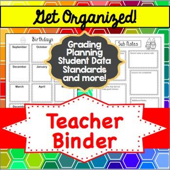 Editable Teacher Binder and Organizer - rainbow hexagon