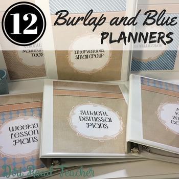 Teacher Binder Editable 2017-2018 Burlap and Blue Covers