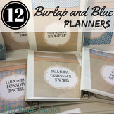 Teacher Planner 2019-2020 Editable Binder Covers Burlap and Blue