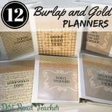 Teacher Planner 2018-2019 Editable Binder Covers Neutral Burlap