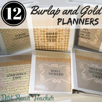Teacher Binder Burlap Gold Neutral