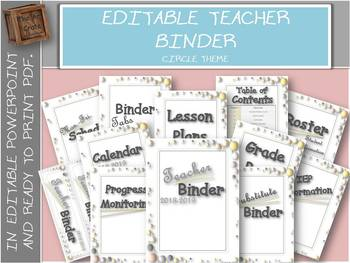 Editable Teacher Binder with free updates | Circle
