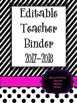 Editable Teacher Binder/Planner:  Black and White Printer Friendly