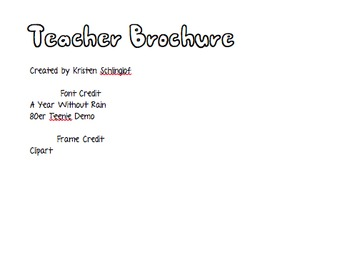 Editable Teacher Brochure Meet the Teacher Night