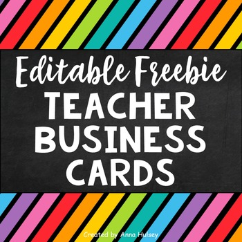 editable teacher business cards freebie - Teacher Business Cards
