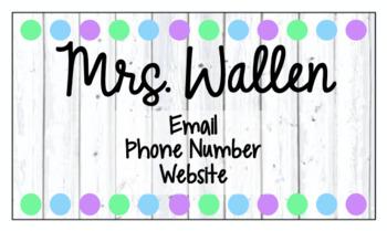 Editable Teacher Business Cards - Great for Open House or Meet the Teacher Night