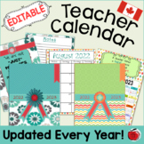 Editable Teacher Calendar - Canadian Version - FREE Updates for Life