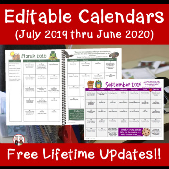 Editable Teacher Calendar Planner Binder I FREE UPDATES FOR LIFE