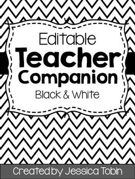 Teacher Binder (Editable- Black and White)