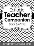 Teacher Planner 2018-2019, Black and White Editable Teacher Binder