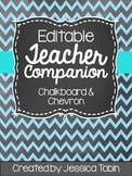 Teacher Planner 2018-2019- Chalkboard Chevron Editable Teacher Binder