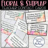 Editable Teacher Contact Cards (Floral and Shiplap)