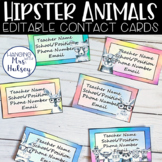 Editable Teacher Contact Cards (Hipster Animals)
