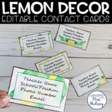 Editable Teacher Contact Cards (Lemon Dot)