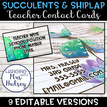Editable Teacher Contact Cards (Succulent and Shiplap)