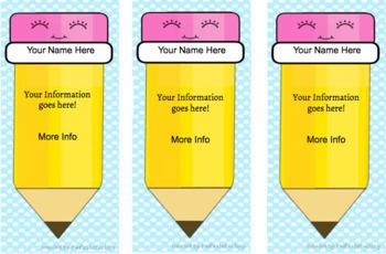 Editable Teacher Contact Cards / Teacher Magnets