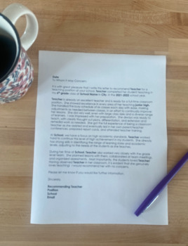 Editable Teacher Cover Letter Template