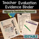 Editable Teacher Evidence Binder Charlotte Danielson Model
