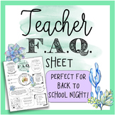 Meet the Teacher Template Editable - F.A.Q. Sheet