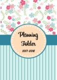 Editable Teacher Folder / Binder Covers - Floral and Blue Stripes