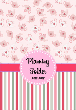 Editable Teacher Folder / Binder Covers - Pink Teapots