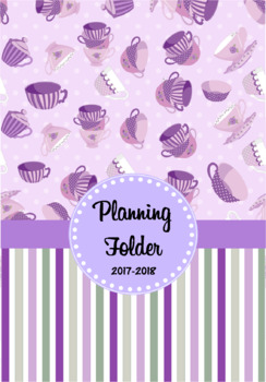 Editable Teacher Folder / Binder Covers - Purple Teacups