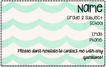 Editable Teacher Info Card For Parents