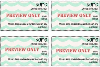 Teacher Info Card For Parents - Editable