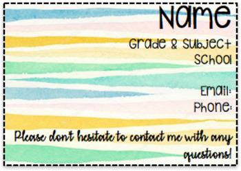 Editable Teacher Info Card For Parents