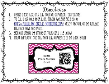 Editable Teacher Information Card