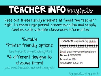 Editable Teacher Information Magnets