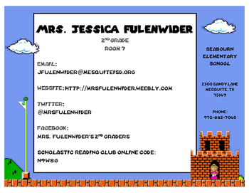 Editable Teacher Information Sheet (Mario)