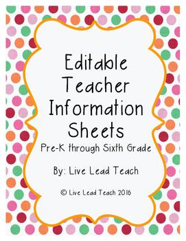 Editable Teacher Information Sheets