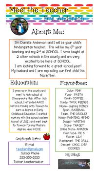 Editable Teacher Introduction Flyer