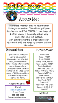 Editable Teacher Introduction Flyer