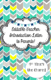 Editable Teacher Introduction Letter to Parents