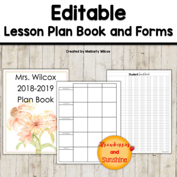 Teacher Planner 2018-2019 Editable With Forms and Free Updates