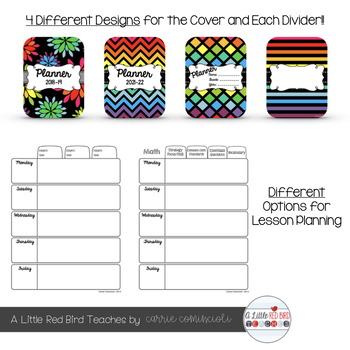 Editable Teacher Lesson Planner (Black Rainbow Theme)