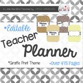 Editable Teacher Lesson Planner (Giraffe Print Theme)