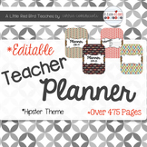 Editable Teacher Lesson Planner (Hipster Theme)