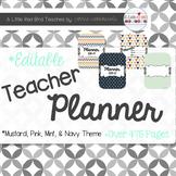 Editable Teacher Lesson Planner (Mustard, Pink, Mint & Navy Theme)