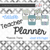 Editable Teacher Lesson Planner (Peacock Theme)