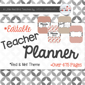 Editable Teacher Lesson Planner (Red and Mint Theme)