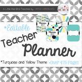 Editable Teacher Lesson Planner (Turquoise and Yellow Theme)