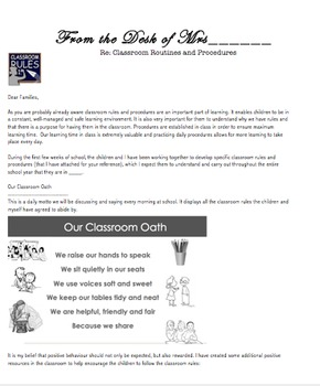 Editable Welcome Letter - Introduction to Classroom Rules and Routines